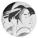 Cool Oriental Black White Geisha Party Plates