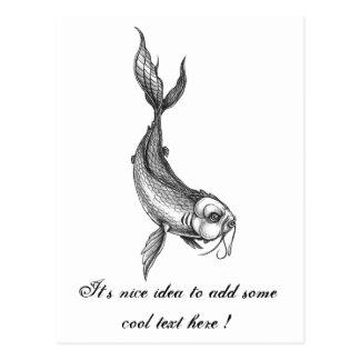 Cool Oriental Black White Koi Fish Carp tattoo Postcard