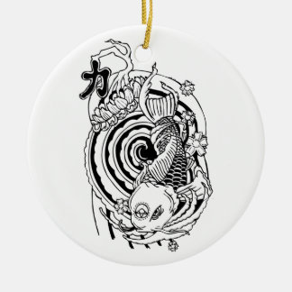 Cool Oriental Black White Koi Fish tattoo Ceramic Ornament