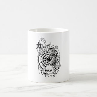 Cool Oriental Black White Koi Fish tattoo Coffee Mug