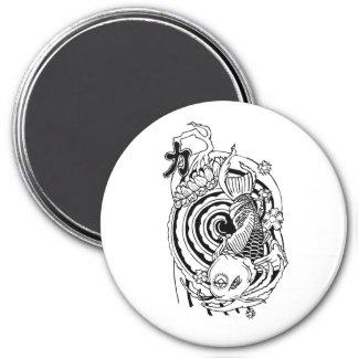 Cool Oriental Black White Koi Fish tattoo 3 Inch Round Magnet