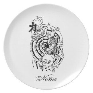 Cool Oriental Black White Koi Fish tattoo Plate