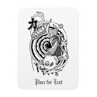 Cool Oriental Black White Koi Fish tattoo Rectangular Photo Magnet
