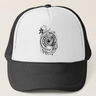 Cool Oriental Black White Koi Fish tattoo Trucker Hat