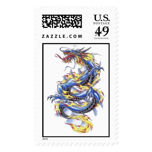 Cool Oriental Blue  Dragon tattoo  stamp
