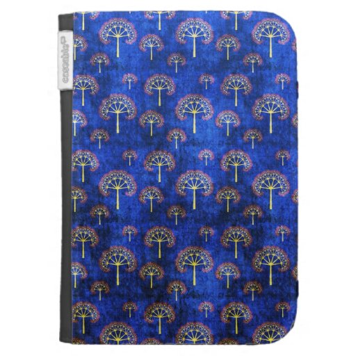 Cool oriental blue japanese abstract tree indigo kindle cases