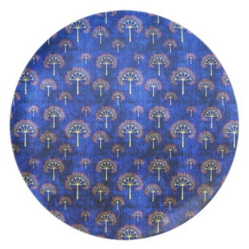Cool oriental blue japanese abstract tree indigo dinner plate