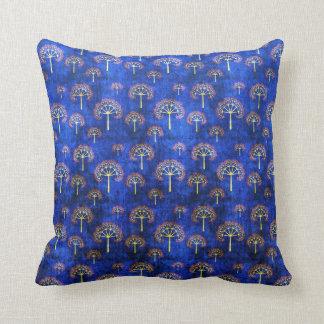 Cool oriental blue japanese abstract tree indigo throw pillow
