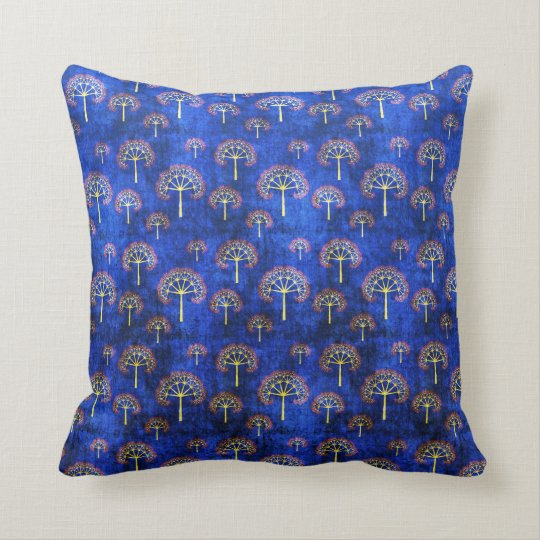 Cool oriental blue japanese abstract tree indigo throw pillow