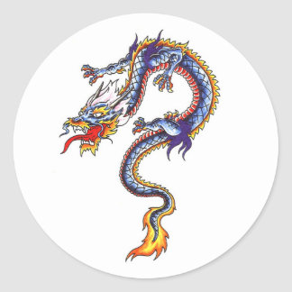 Cool  Oriental Blue Water Dragon style sticker