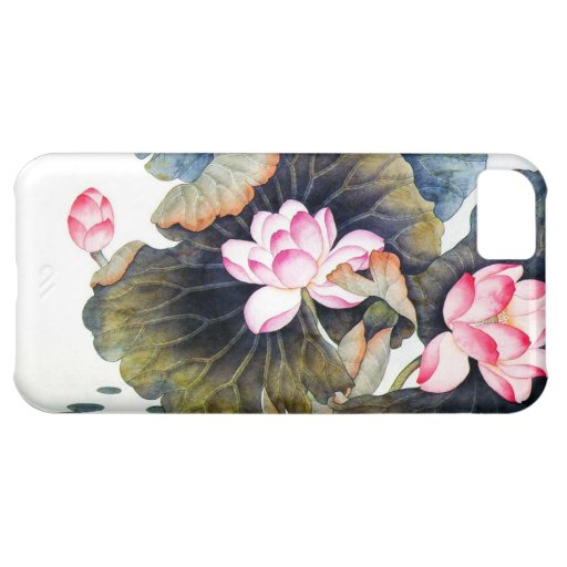Cool oriental chinese beautiful lotus leaf butterf iPhone 5C cases