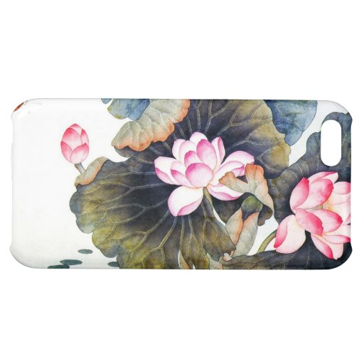 Cool oriental chinese beautiful lotus leaf butterf iPhone 5C cover