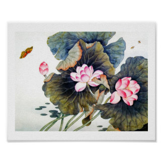 Cool oriental chinese beautiful lotus leaf butterf poster