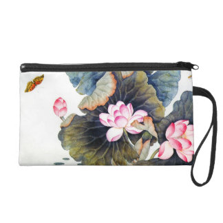 Cool oriental chinese beautiful lotus leaf butterf wristlet purse