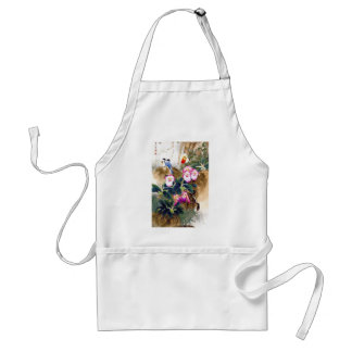 Cool oriental chinese blue bird pink flower paint adult apron