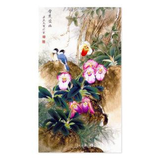 Cool oriental chinese blue bird pink flower paint business card template