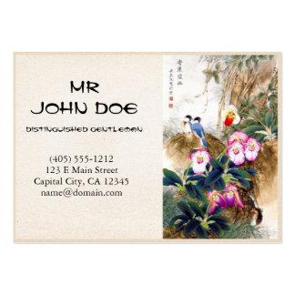 Cool oriental chinese blue bird pink flower paint business card