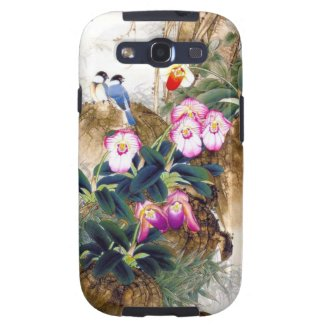 Cool oriental chinese blue bird pink flower paint samsung galaxy s3 cover