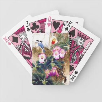 Cool oriental chinese blue bird pink flower paint deck of cards