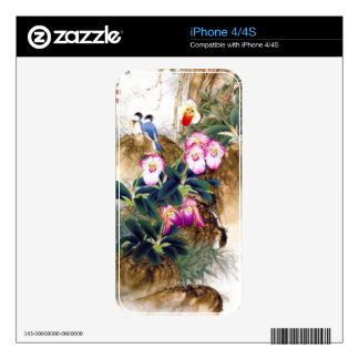 Cool oriental chinese blue bird pink flower paint skins for the iPhone 4S