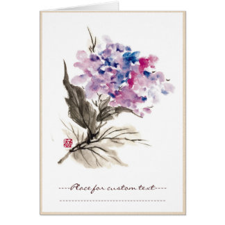 Cool oriental chinese classic watercolor flowers stationery note card