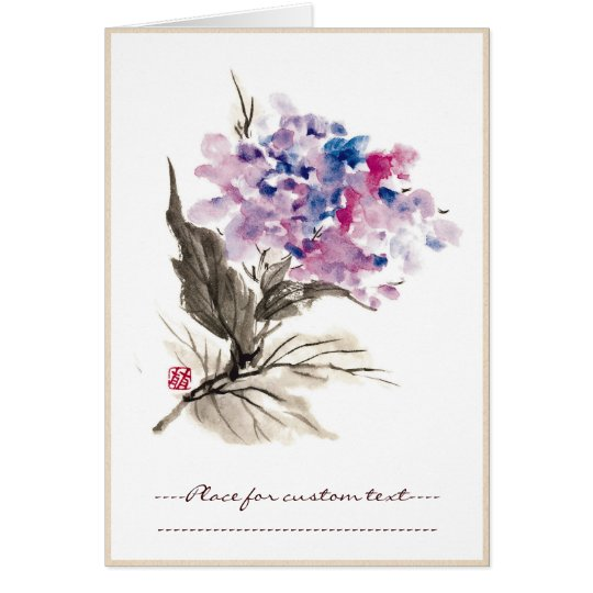 Cool oriental chinese classic watercolor flowers card