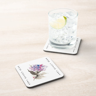 Cool oriental chinese classic watercolor flowers drink coaster