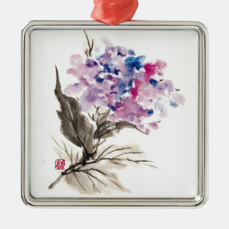 Cool oriental chinese classic watercolor flowers metal ornament