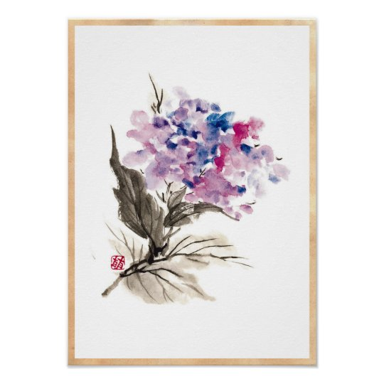 cool oriental chinese classic watercolor flowers poster zazzle com