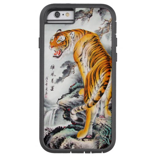Cool oriental chinese fluffy tiger watercolor ink iPhone 6 case