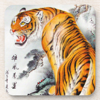 Cool oriental chinese fluffy tiger watercolor ink coaster