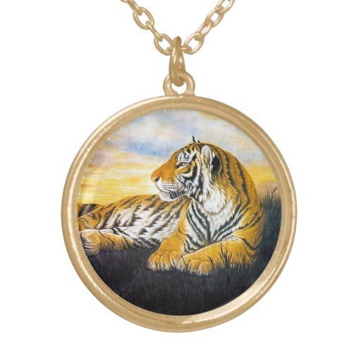Cool oriental chinese fluffy tiger watercolor ink pendants