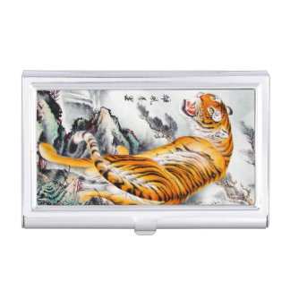 Cool oriental chinese fluffy tiger watercolor ink business card holder