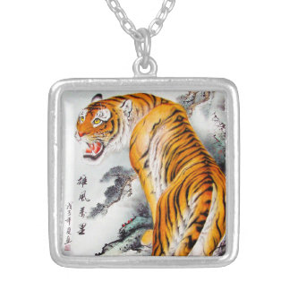 Cool oriental chinese fluffy tiger watercolor ink silver plated necklace