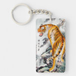 Cool oriental chinese fluffy tiger watercolour ink Double-Sided rectangular acrylic keychain