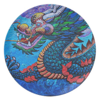 Cool oriental chinese oil colourful dragon paint melamine plate