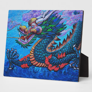 Cool oriental chinese oil colourful dragon paint plaque