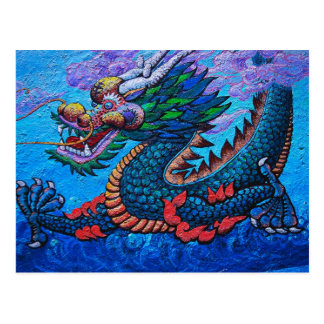Cool oriental chinese oil colourful dragon paint postcard