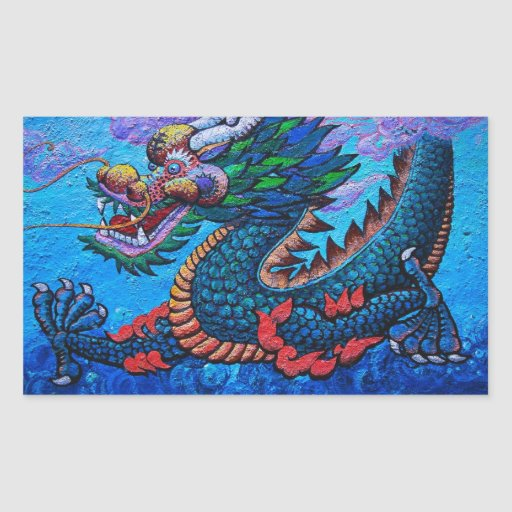 Cool oriental chinese oil colourful dragon paint rectangle stickers