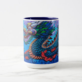 Cool oriental chinese oil colourful dragon paint Two-Tone coffee mug