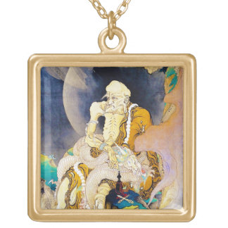 Cool oriental chinese Old Wise Master Sage art Gold Plated Necklace
