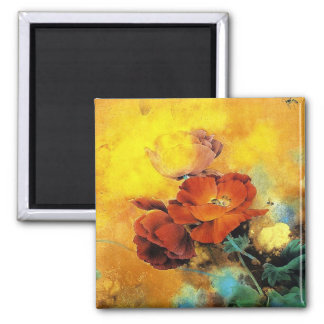 Cool oriental chinese red poppy flower watercolor 2 inch square magnet