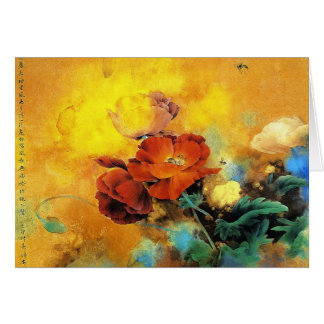 Cool oriental chinese red poppy flower watercolor card