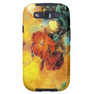 Cool oriental chinese red poppy flower watercolor samsung galaxy SIII cases