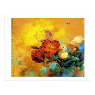 Cool oriental chinese red poppy flower watercolor postcard