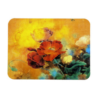 Cool oriental chinese red poppy flower watercolor rectangular photo magnet