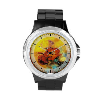 Cool oriental chinese red poppy flower watercolor watches