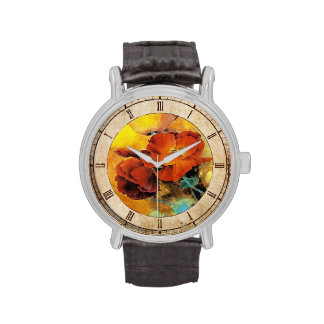 Cool oriental chinese red poppy flower watercolor wristwatches