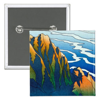Cool oriental clasic traditional mountain pass art pin