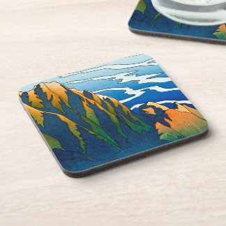 Cool oriental clasic traditional mountain pass art coaster